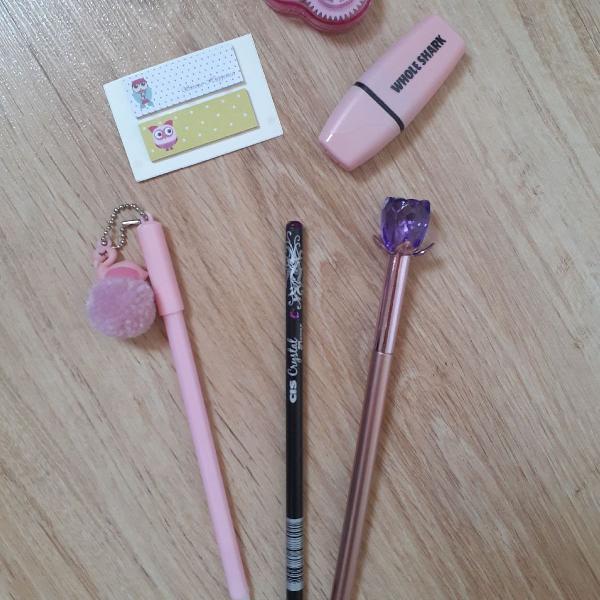 Kit canetas rosa