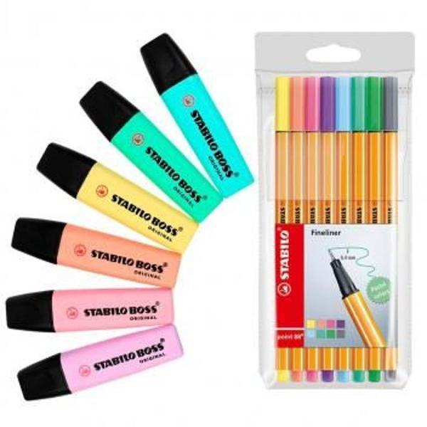 Kit marca texto stabilo caneta pastel cores boss tons