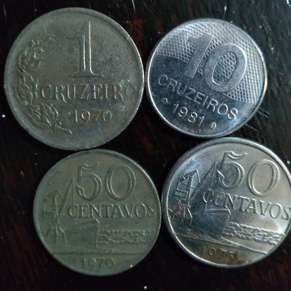 Lote de quatro moedas