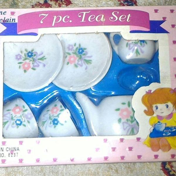 Mini jogo de chá de porcelana (para decoração)