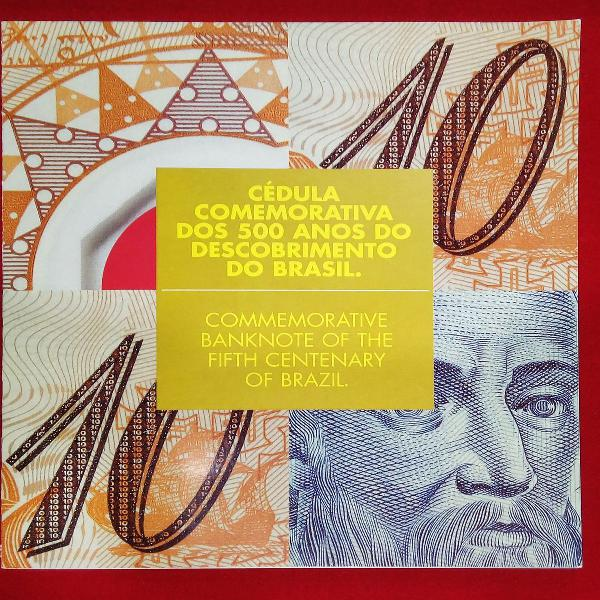 Older cédula 10 reais comemorativa dos 500 anos do brasil