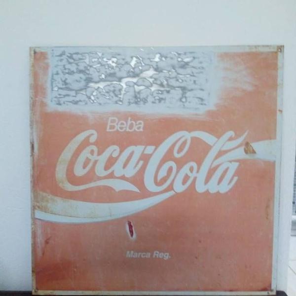 Placa antiga original coca cola década de 80 a 90