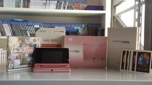 3ds rosa completo +jogo pes 2013 +cartão 4gb- b