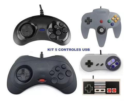 Kit 5 controles usb mega drive sega saturn n64 snes e nes!