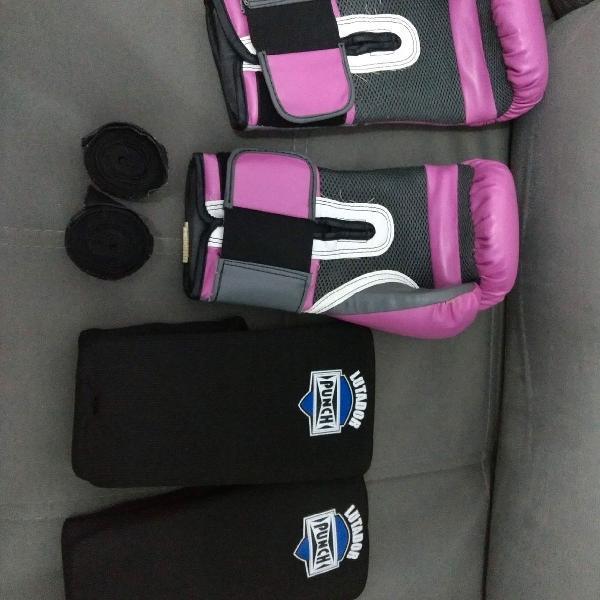 Luva de boxe + protetor de canela + bandagem