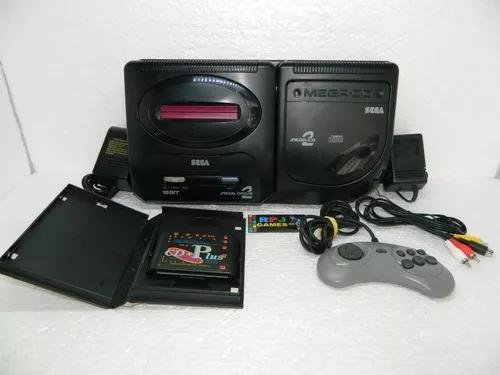 Mega drive 2 c/ sega cd japones e cd plus pronto jogar