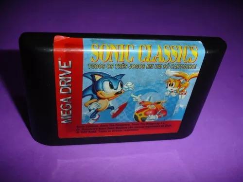 Mega drive: cartucho sonic classics original 3 jogos
