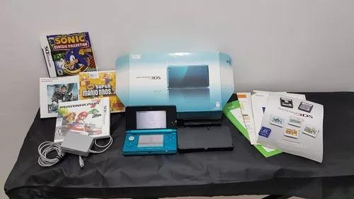 Nintendo 3ds azul c/ mario kart 7 + super mario 2 + 2 jogos