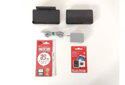 Nintendo 3ds preto black + 32gb + jogos + garantia + brinde