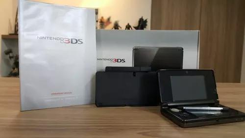 Nintendo 3ds preto + cartão 2gb + caixa + base carregadora