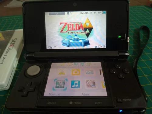 Nintendo 3ds - preto + zelda + mario kart 7 + r4ds