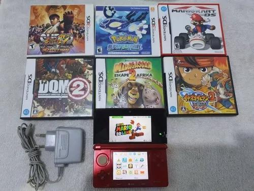 Nintendo 3ds vermelho + 6 jogos originais pok