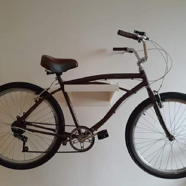 Bicicleta caiçara old school marrom aro 26