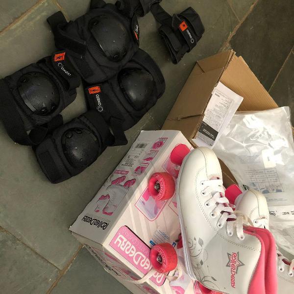 R$ 200 patins 4 rodas infantil branco e rosa com kit