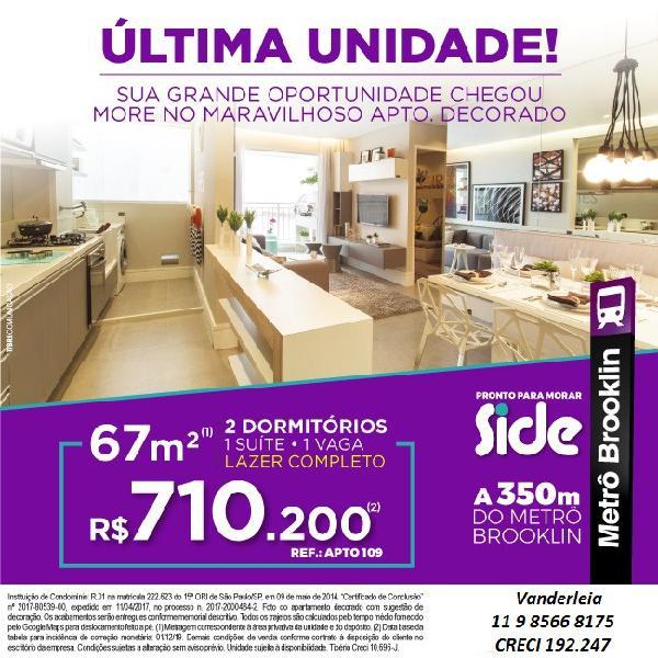 Ltima unidade - apartamento 67m, 2 dormitórios e decorado