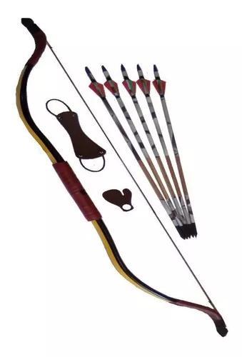 Arco recurvo mongol + acessorios + 5 flechas