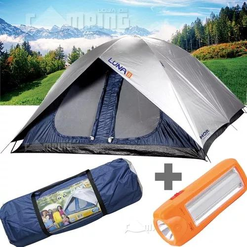 Barraca camping grande impermeavel 8 pessoas luna + lanterna