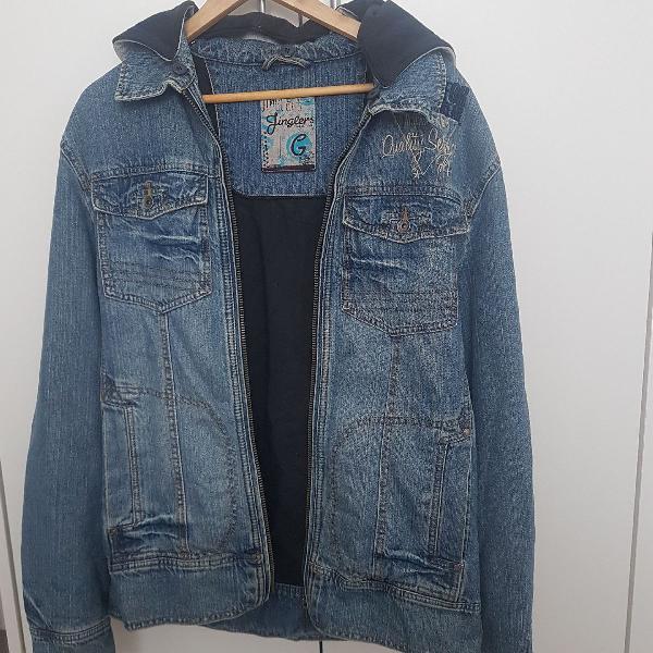 Jaqueta jeans masculina forrada com capuz removível tamanho