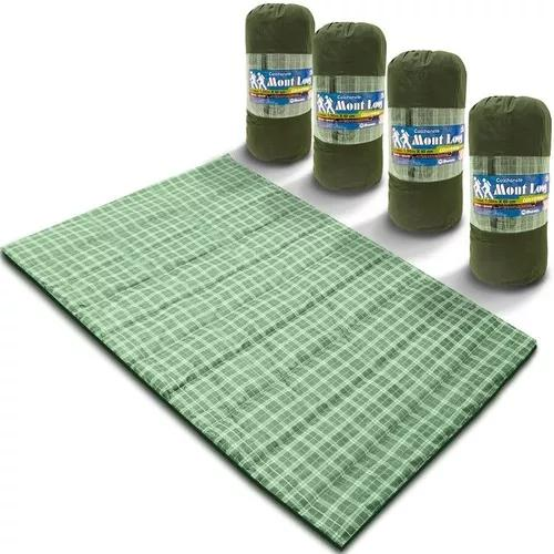 Kit 4 colchonete casal 190x130 c/ bolsa xadrez verde camping