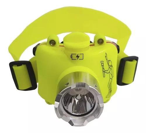 Lanterna de cabeça recarregável p/ mergulho led prova