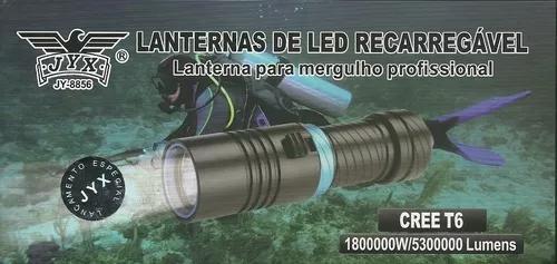 Lanterna de mergulho recarregável jyx jy-8856 800000w t6