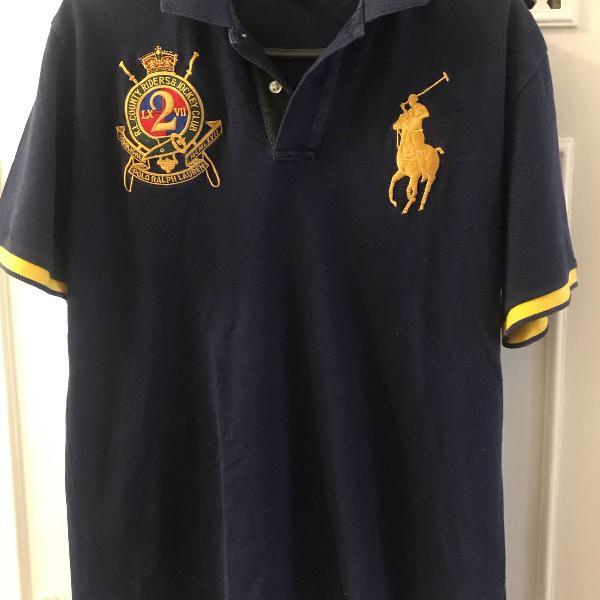 Camisa azul com detalhe amarelo polo ralph lauren