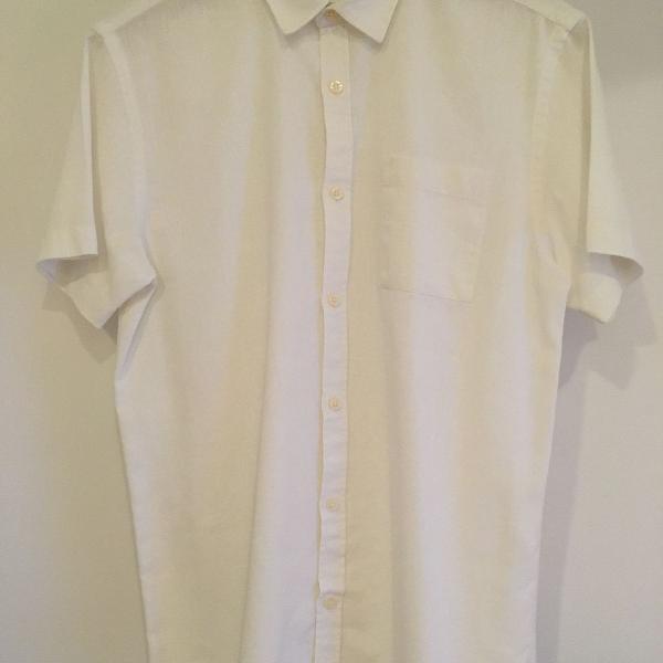 Camisa branca de linho/viscose foxton