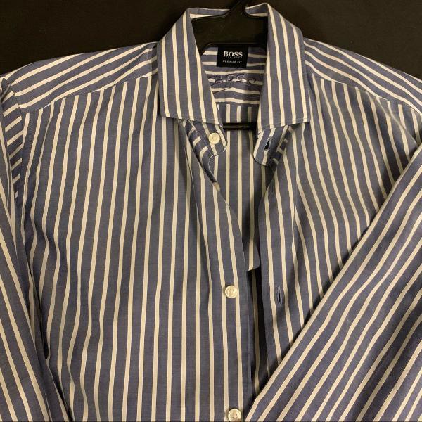Camisa hugo boss listrada azul e branca!