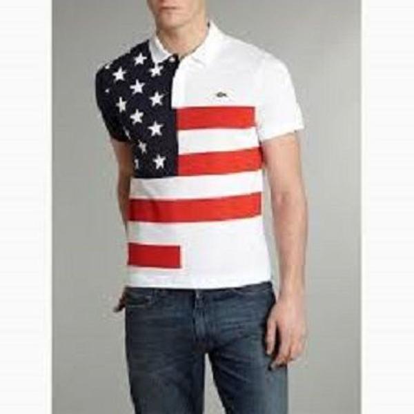 Camisa polo lacoste bandeira estados unidos