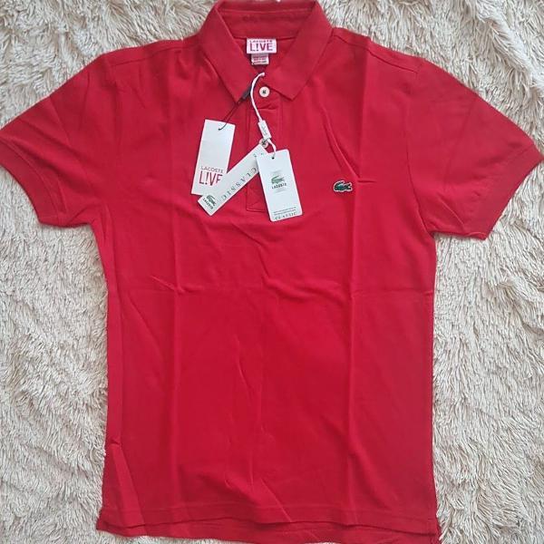 Camisa polo lacoste live vermelha lisa tam p