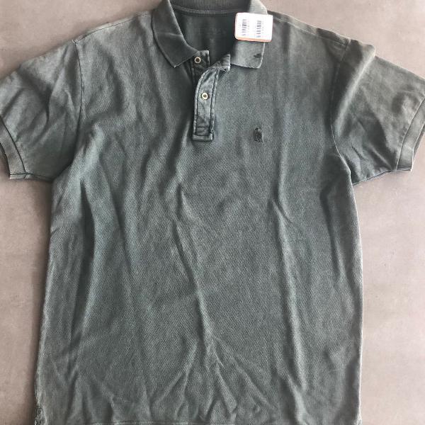 Camisa polo verde estonada original com etiqueta