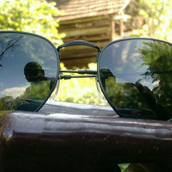 Culos de sol rayban hexagonal preto lentes de cristal