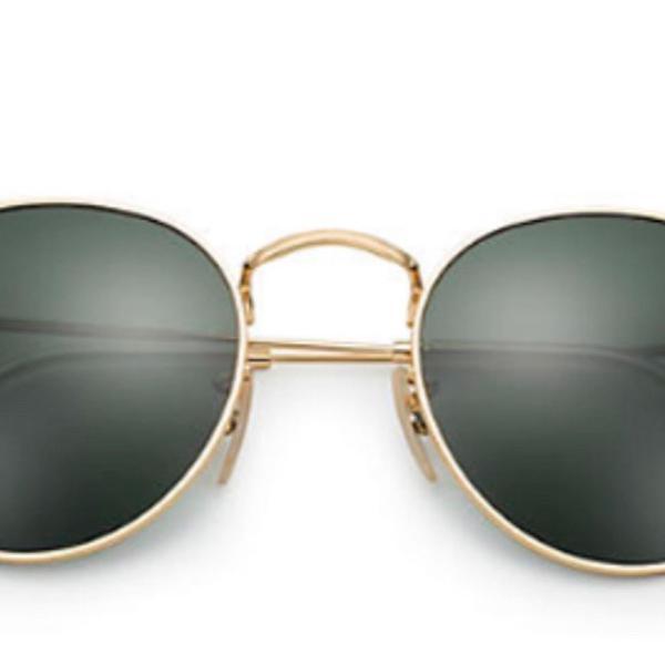 Ray ban round | lentes verde classico g-15 | armação ouro