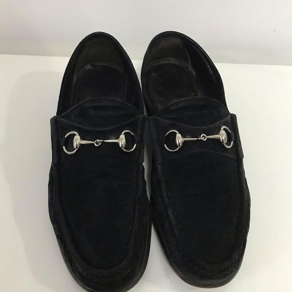 Sapato gucci mocassim camurça preto masculino original