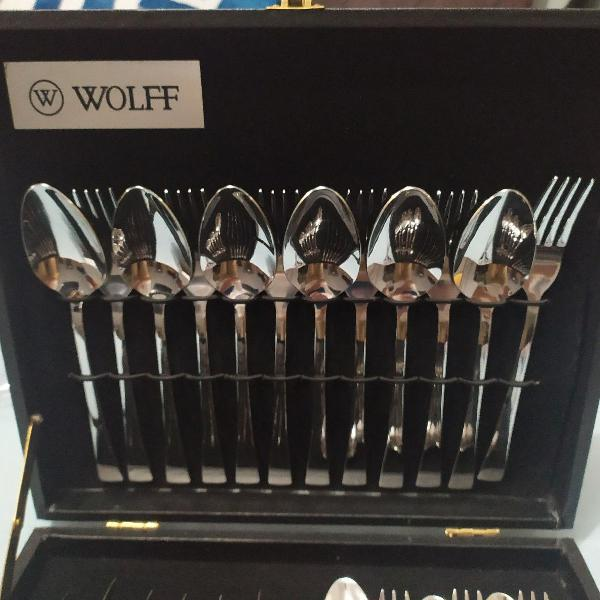 Caixa de madeira do faqueiro wolff (utensílios não