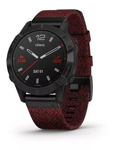 Garmin fenix 6 safira 47mm heathered rednylon pronta entrega
