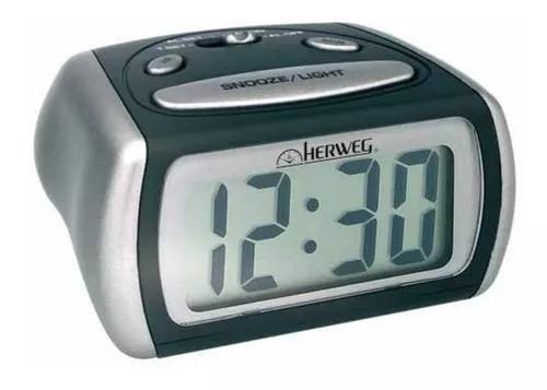 Relógio 2916 despertador digital preto prata luz led azul