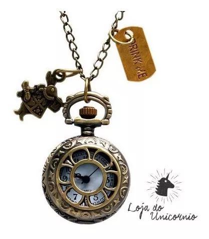 Relógio de bolso alice no país das maravilhas coelho