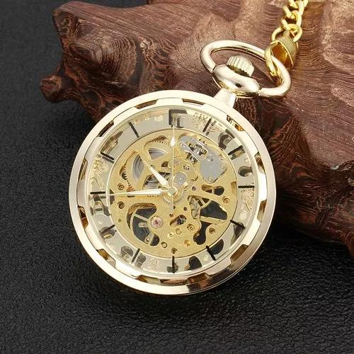 Relógio de bolso de ouro antigo esqueleto transparente