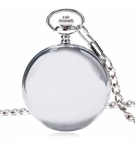 Relógio de bolso quartzo vintage prateado minimalista retro