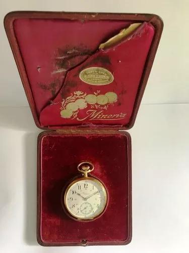 Relogio de bolso minerva ancre precision ouro 18k