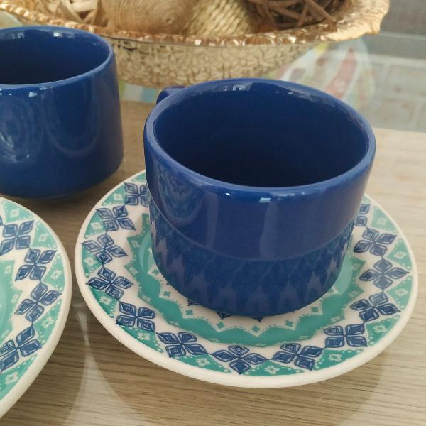Jogo de 8 xícaras para café azul marinho