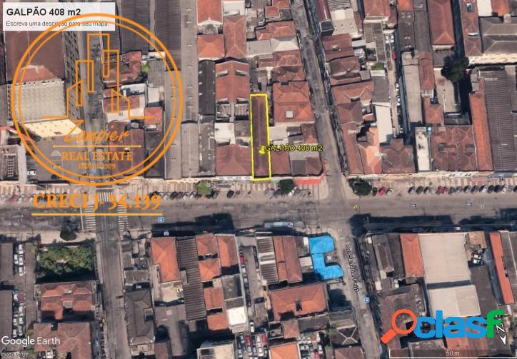 Terreno / galpão 408 m2 - centro - santos