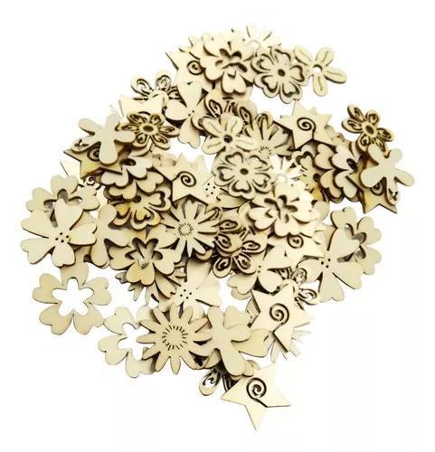 100 peças assorted plain oco corte madeira flor formas
