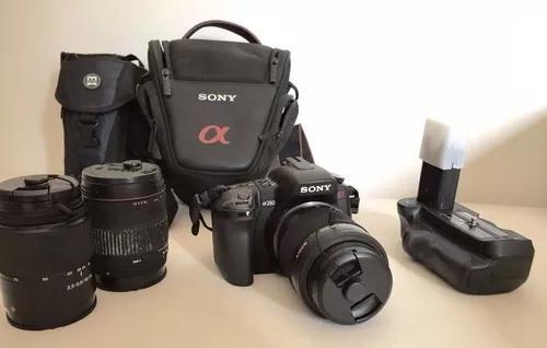 Camera digital sony a 350 + 3 lentes zoom + acessorios