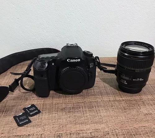 Câmera canon 60d + lente 17-85 + 2 cartões de m