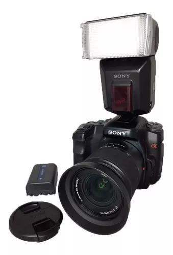 Câmera sony alpha 100 impecável flash + alça + cartão +