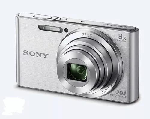 Câmera sony cyber-shot dsc w830 zoom 8x 20.1mp prata+