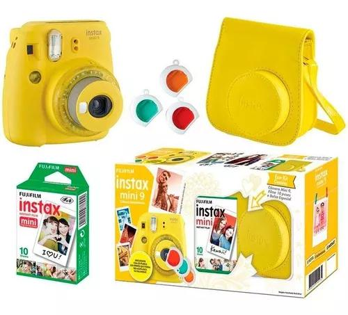 Kit câmera instantânea fujifilm instax mini 9 amarelo