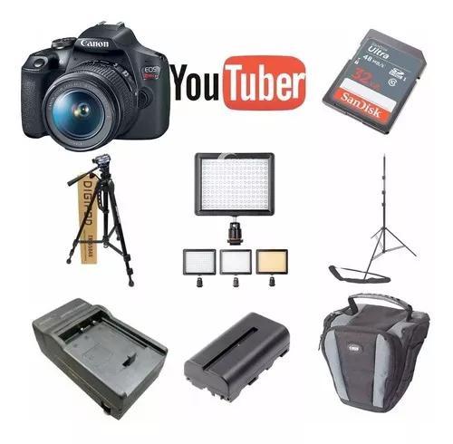 Kit youtuber canon eos t7 32gb + tripe + led 160 bat e case